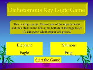 Dichotomous Key Logic Game