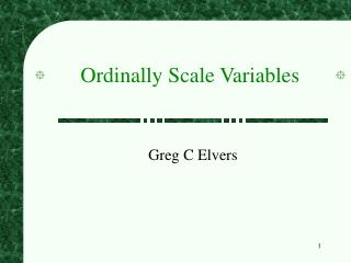 Ordinally Scale Variables