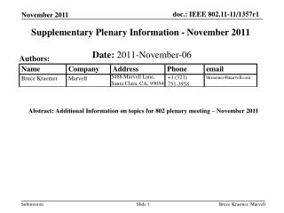 Supplementary Plenary Information - November 2011
