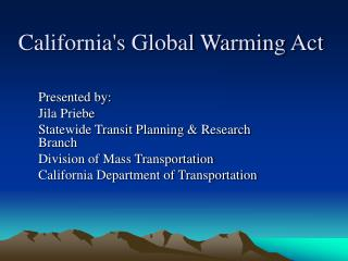 California's Global Warming Act