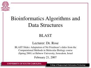Bioinformatics Algorithms and Data Structures
