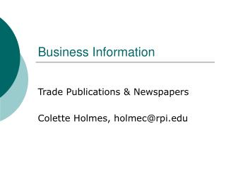 Introduction to Trade Publications