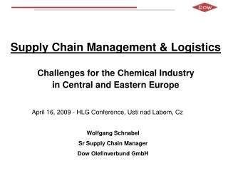 Supply Chain Management & Logistics Challenges for the Chemical Industry