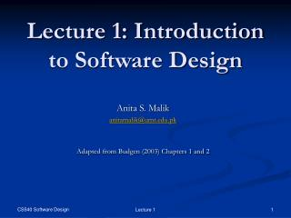 Lecture 1: Introduction to Software Design