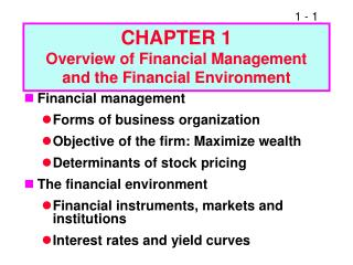 CHAPTER 1 Overview of Financial Management and the Financial Environment