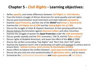 Chapter 5 -  Civil Rights  - Learning objectives: