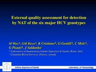 External quality assessment for detection by NAT of the six major HCV genotypes