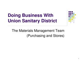 Doing Business With Union Sanitary District