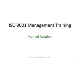 ISO 9001 Management Training