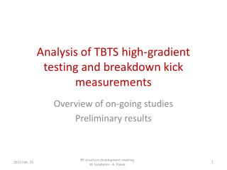 Analysis of  TBTS high-gradient testing and breakdown kick measurements