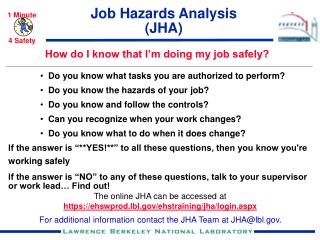 Job Hazards Analysis (JHA)