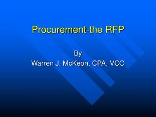 Procurement-the RFP