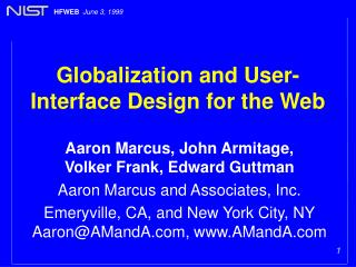 Globalization and User-Interface Design for the Web