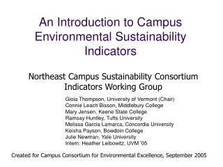 An Introduction to Campus  Environmental Sustainability Indicators