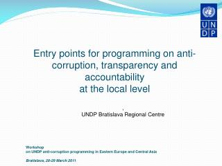 Entry points for programming on anti-corruption, transparency and accountability
