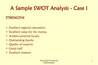 A Sample SWOT Analysis - Case I