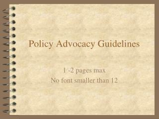 Policy Advocacy Guidelines