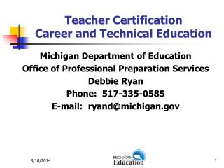 Teacher Certification Career and Technical Education