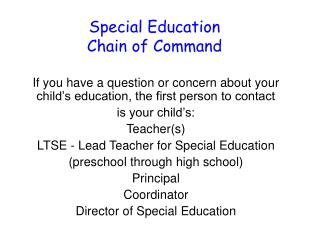 Special Education Chain of Command