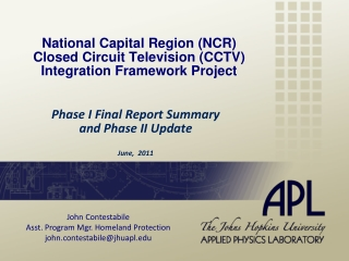 National Capital Region (NCR) Closed Circuit Television (CCTV) Integration Framework Project