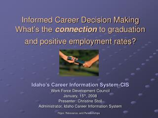 Informed Career Decision Making  What's the  connection  to graduation and positive employment rates?