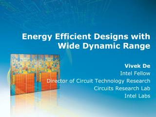 Energy Efficient Designs with Wide Dynamic Range