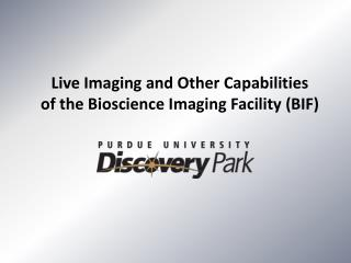 Live Imaging and Other Capabilities of the Bioscience Imaging Facility (BIF)