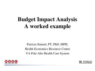 Budget Impact Analysis A worked example