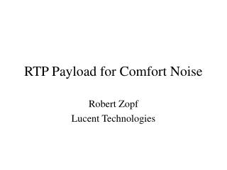 RTP Payload for Comfort Noise