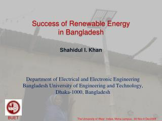 Success of Renewable Energy in Bangladesh