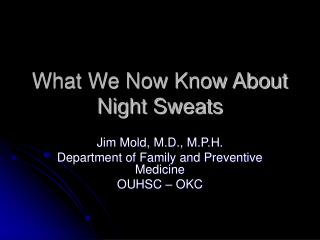 What We Now Know About Night Sweats
