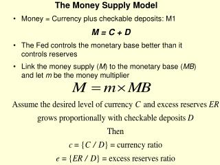 The Money Supply Model