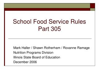 School Food Service Rules  Part 305