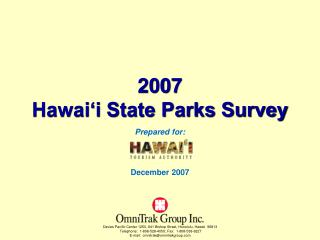 2007 Hawai'i State Parks Survey