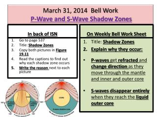 March 31, 2014  Bell Work P-Wave and S-Wave Shadow Zones