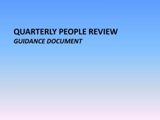 QUARTERLY  people Review  Guidance  Document