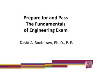 Prepare for and Pass The Fundamentals  of Engineering Exam