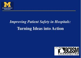 Improving Patient Safety in Hospitals: Turning Ideas into Action