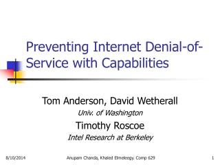 Preventing Internet Denial-of-Service with Capabilities