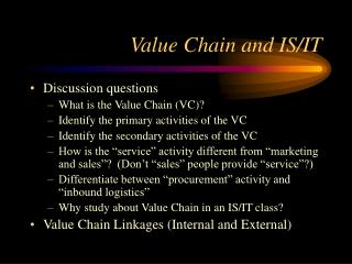 Value Chain and IS/IT