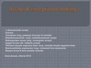 Arrays &  exception  handling 1
