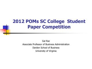 2012 POMs SC College  Student Paper Competition