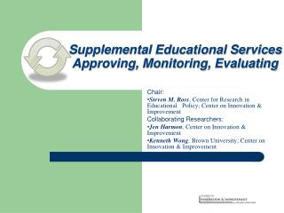 Supplemental Educational Services Approving, Monitoring, Evaluating