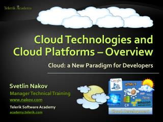 Cloud Technologies and Cloud Platforms – Overview