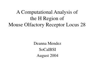 A Computational Analysis of  the H Region of  Mouse Olfactory Receptor Locus 28