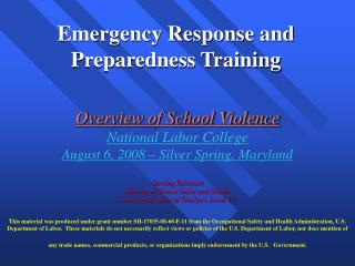 Emergency Response and Preparedness Training
