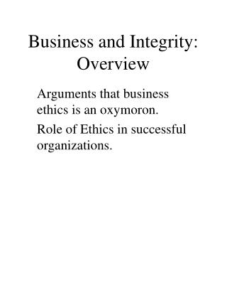 Business and Integrity: Overview