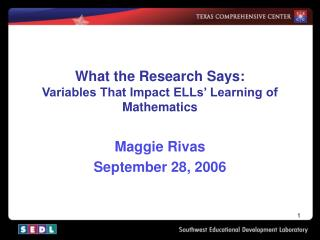 What the Research Says: Variables That Impact ELLs' Learning of Mathematics