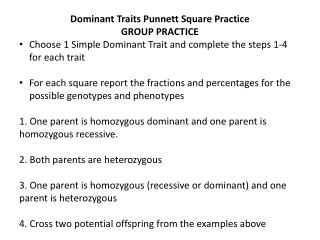 Dominant Traits  Punnett  Square Practice GROUP PRACTICE