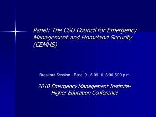 Panel: The CSU Council for Emergency Management and Homeland Security (CEMHS)